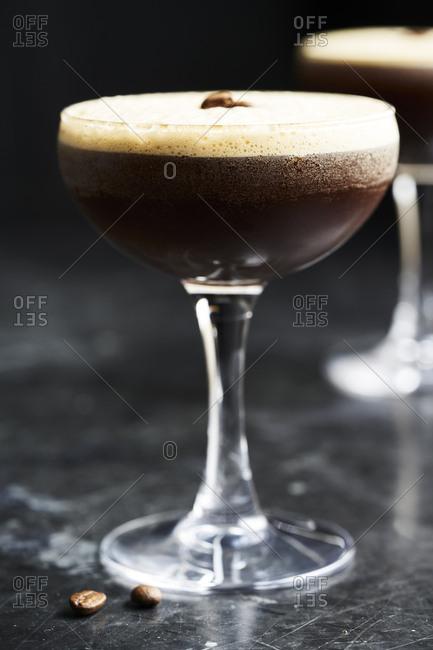 Espresso martini served in a cocktail glass