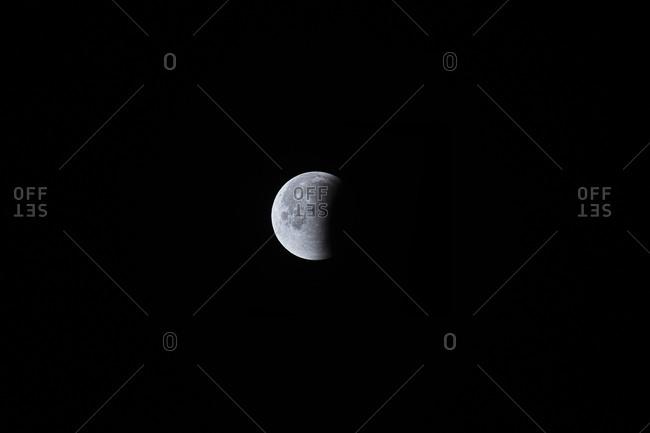Quarter moon during lunar eclipse