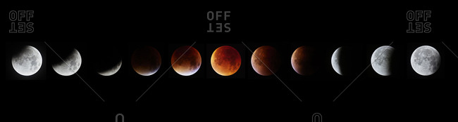 Different phases of total lunar eclipse