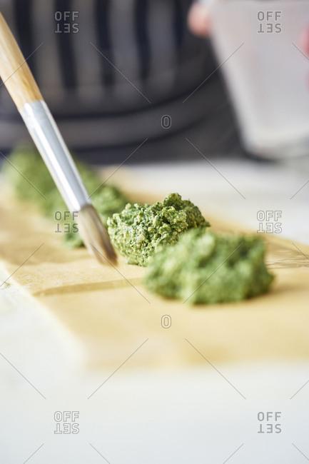 Fillings being prepared for homemade ravioli