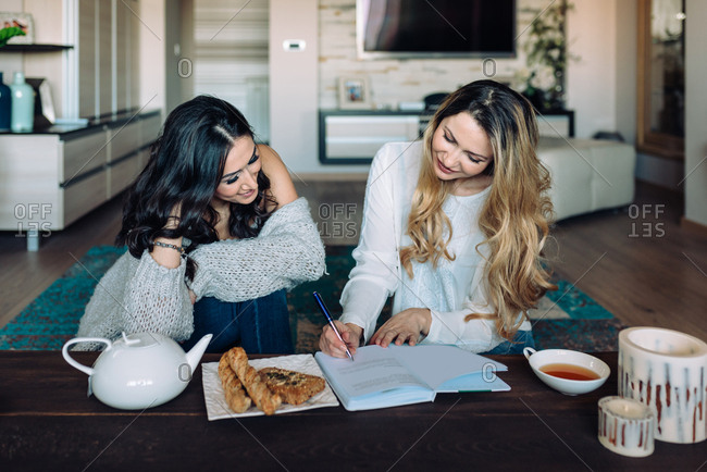 Two beautiful women at home studying together while drinking tea
