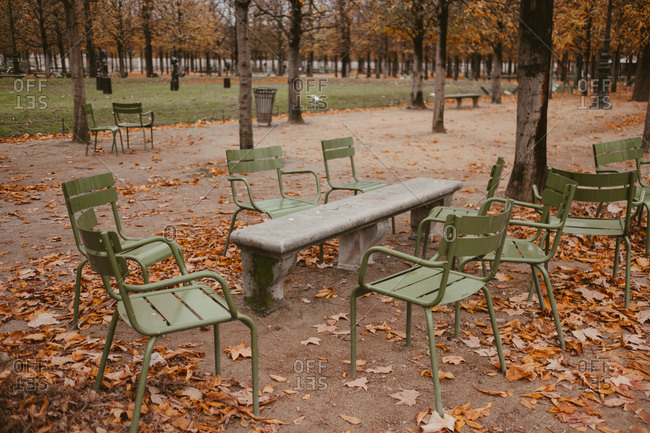 Empty chairs at Place de la Concorde, Paris