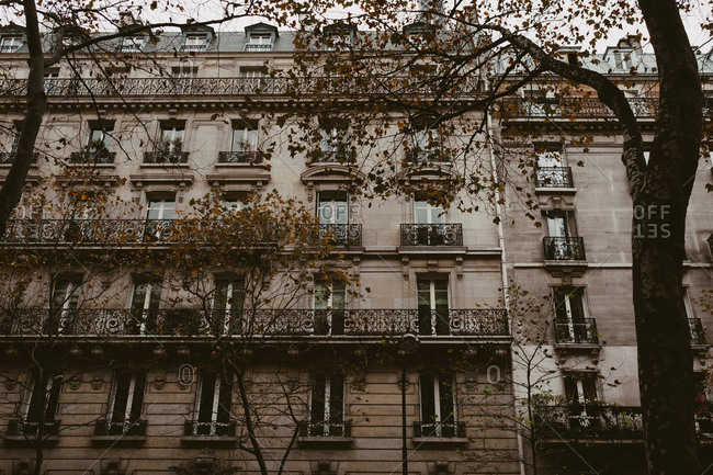 Paris, France - November 20, 2017: Direct view of historic apartments