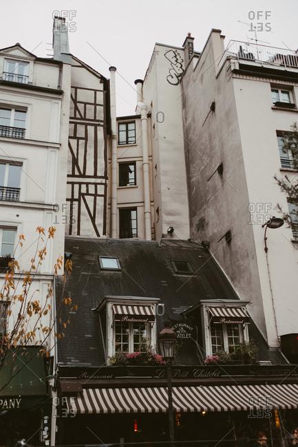 Paris, France - November 20, 2017: Picturesque buildings