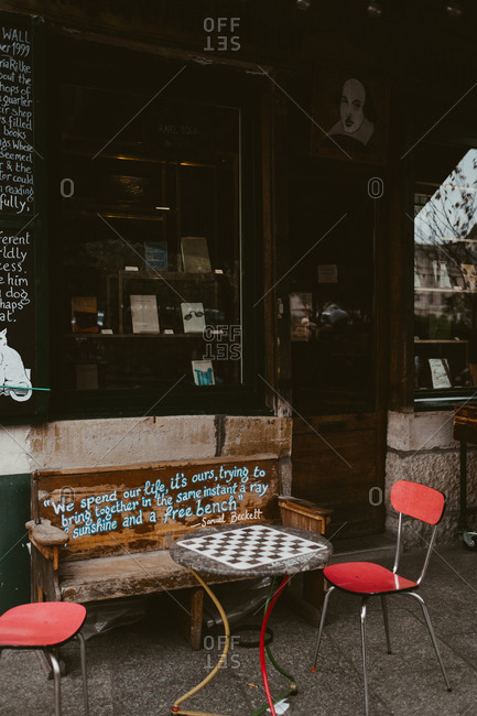 Paris, France - November 20, 2017: Outside seating at Shakespeare and Company bookstore