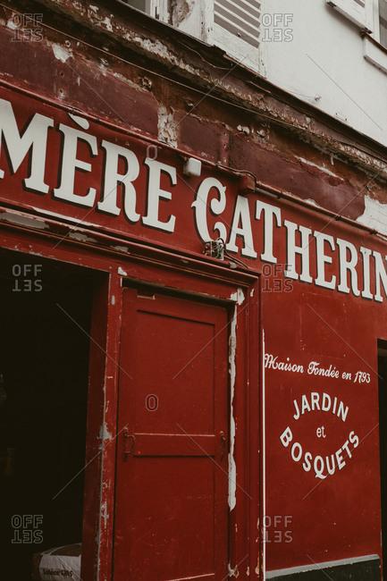 Paris, France - November 21, 2017: Vintage storefront in Montmartre