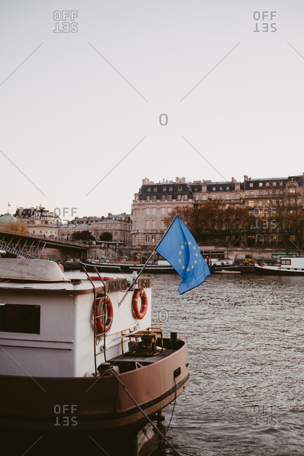 Paris, France - November 22, 2017: Boat on the river Seine in Paris with the EU Flag