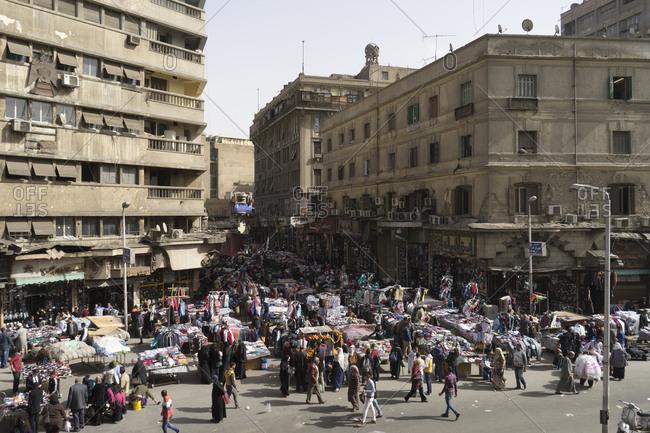 Cairo, Egypt - March 12, 2016: Attaba Marketplace in Cairo, Egypt