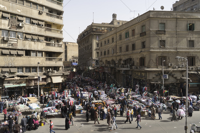 Cairo, Egypt - March 12, 2016: Attaba Marketplace in Cairo, Egypt