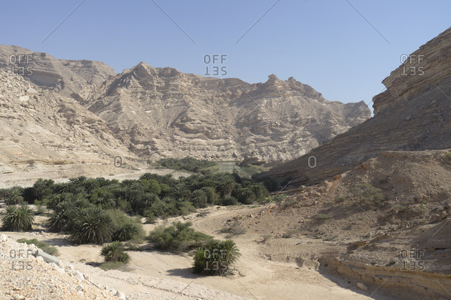 Wadi Sanaq, an oasis lagoon on the wild coast of Dhofar, along the Dhofari coast of Oman