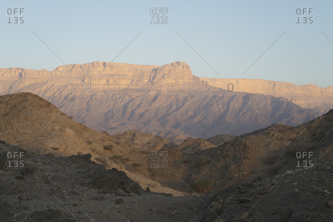 Sunrise view of Jabal Samhan Mountains, Dhofar, Oman