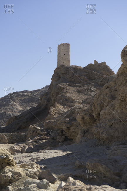 Watchtower atop a hill south of Muscat, Oman