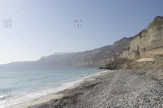 Rugged coastline of Dhofar along the road from Hasik, Oman