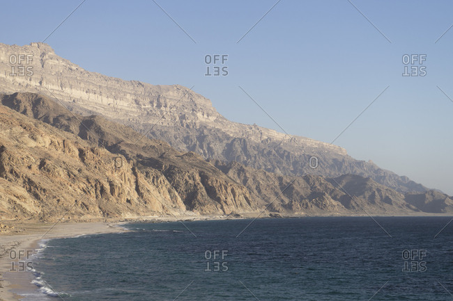Rugged coast of Dhofar along the road from Hasik, Oman