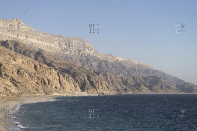 Rugged coast of Dhofar along the road from Hasik, Oman