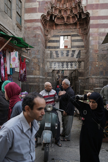 Cairo, Egypt - March 12, 2016: Crowds in Islamic Cairo, Egypt
