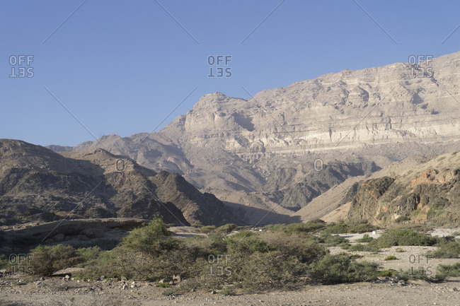 The escarpment of Jebel Samhan rising over the Dhofari coast in Southern Oman
