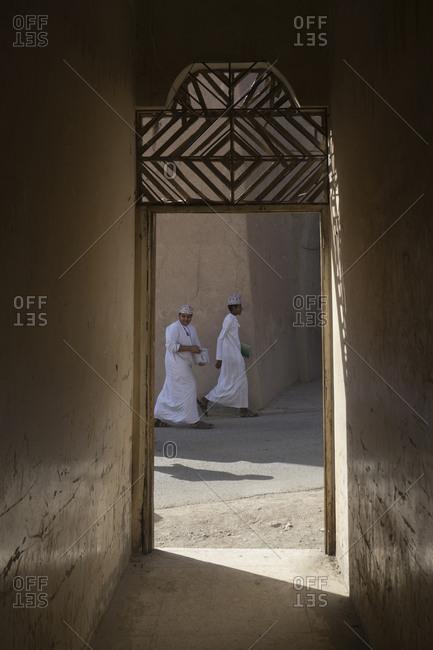 Ad Dakhiliyah Governorate, Oman - November 23, 2016: Schoolboys in Manah, Al Dakhiliyah, Oman