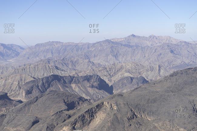 View of the rugged Western Hajar from Sharafat al Alamayn, Oman