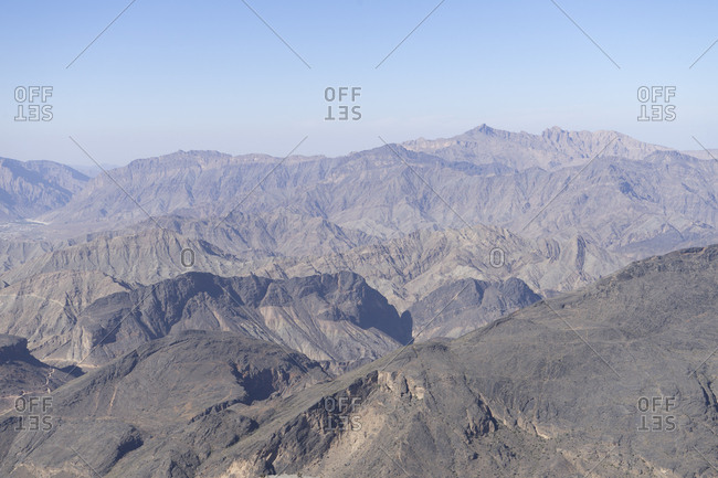 View of the rugged Western Hajar from Sharafat al Alamayn, Oman