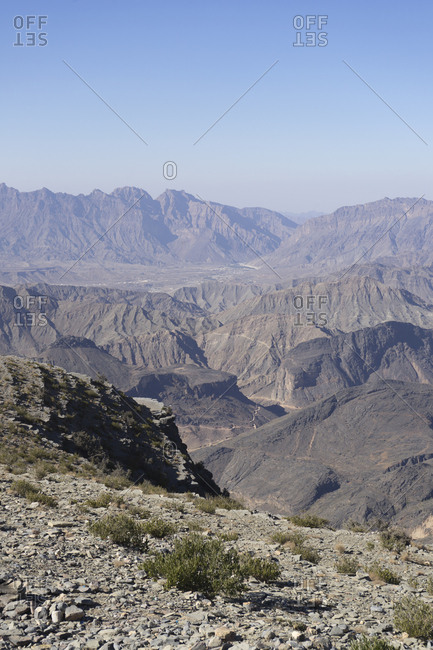 View from Sharafat al Alamayn of the Western Hajar in Oman