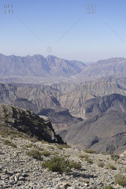 View from Sharafat al Alamayn of the Western Hajar in Oman
