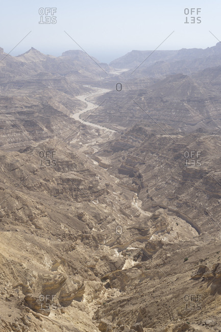 Desolate canyons of Dhofar along the Omani coast