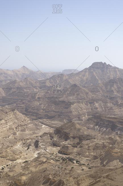 Rugged canyons of Dhofar along the Omani coast