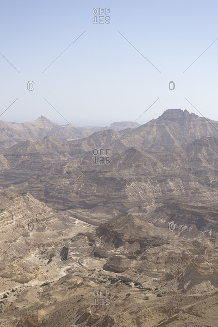 Rugged canyons of Dhofar along the Omani coast