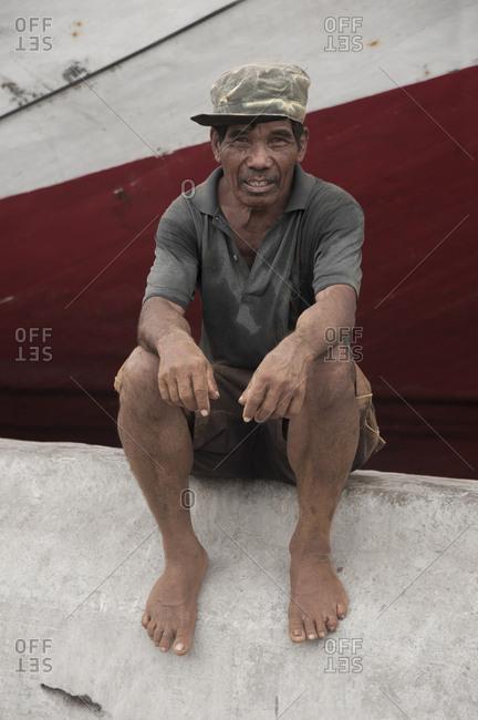 Jakarta, Indonesia - January 27, 2012: Sailor at Sunda Kelapa, Jakarta, Indonesia