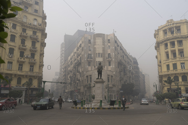 Cairo, Egypt - March 21, 2016: Talaat Harb in downtown Cairo, Egypt