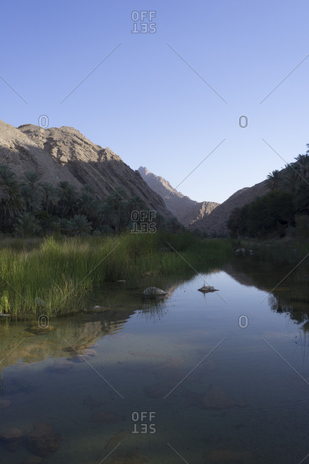 Picturesque valley of Wadi Bani Khalid in Ash Sharqiya North, Oman