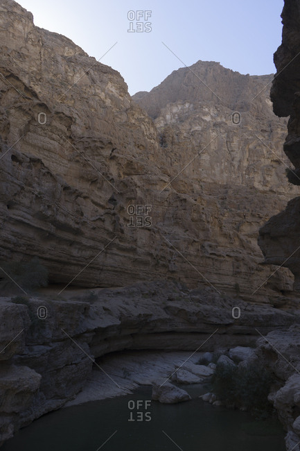 Canyon and rock pools in Oman's Sharqiya region