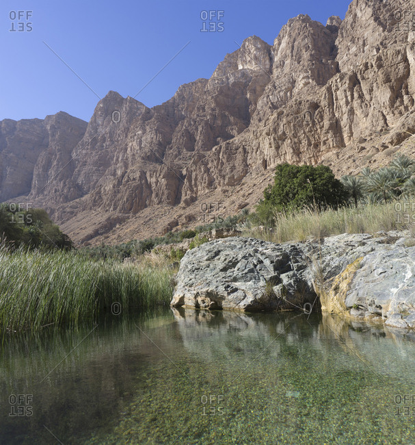 Picturesque view of canyons and pools in Wadi Tiwi, Ash Sharqiya North, Oman