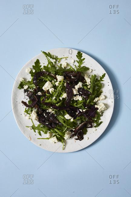Salad on blue background