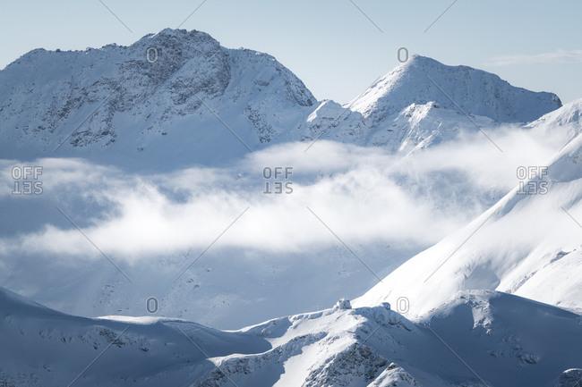 Austria, Mallnitz - January 10, 2018. Overlooking the mountain hut Hagener Hutte on the top of a mountain peak in the Austrian Alps.