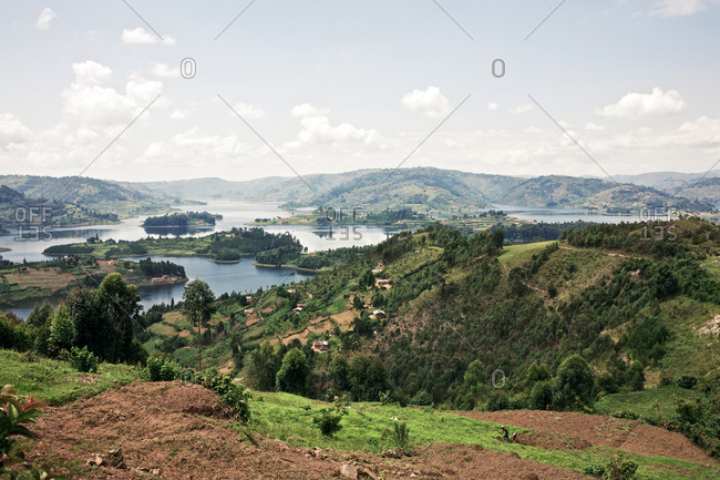 Lake Bunyonyi, Uganda - September 16, 2011: Beautiful panoramic view of the Lake Bunyonyi, which is also known as the Place of Many Little Birds.
