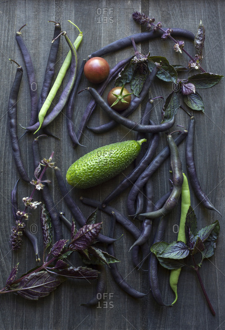 Still life of bush beans, basil, tomatoes and a cucumber