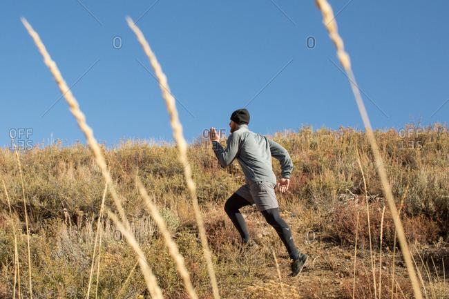 Man running through tall grass