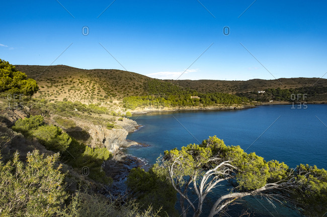 Looking along rocky coast in Cap de Creus natural park in Catalonia, Spain
