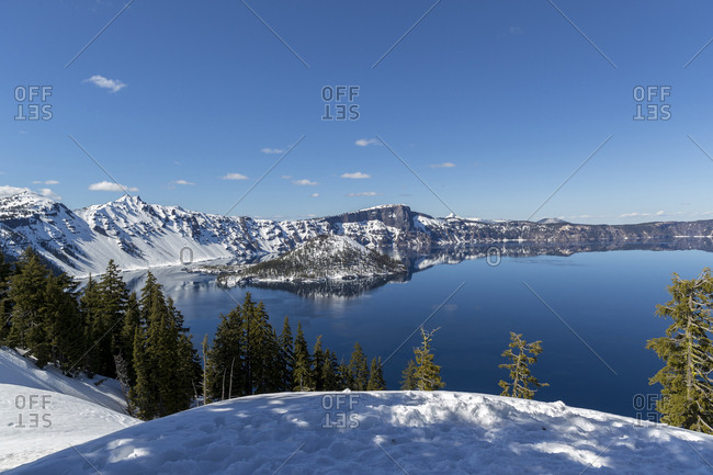 Scenic view of Crater Lake, Oregon, United States