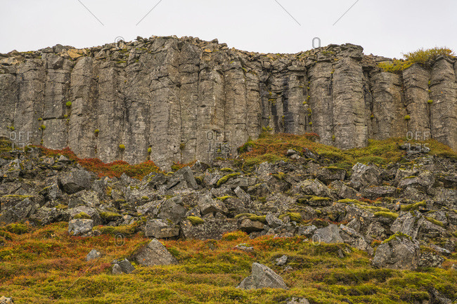 Basalt Columns Of Old Lava In The Snaefellsness Peninsula; Iceland