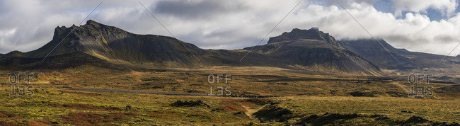 Panoramic View Of The Colorful Tundra And Mountains At The Western Tip Of The Snaefellsness Peninsula; Iceland