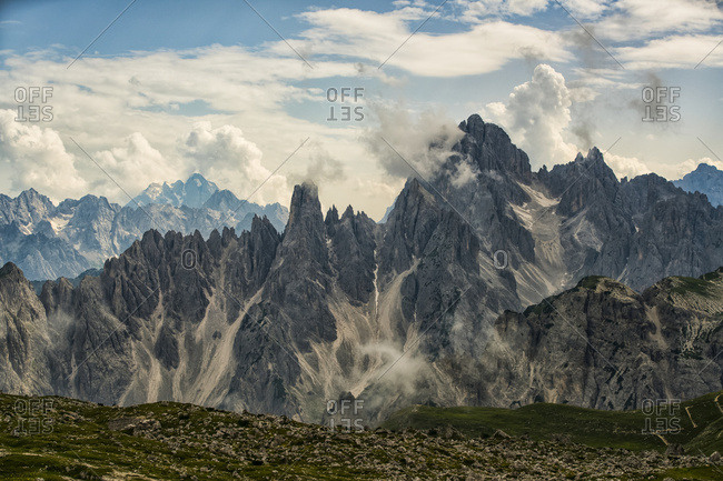 The Dolomite Mountains Of Natural Park Tre Cime; Italy