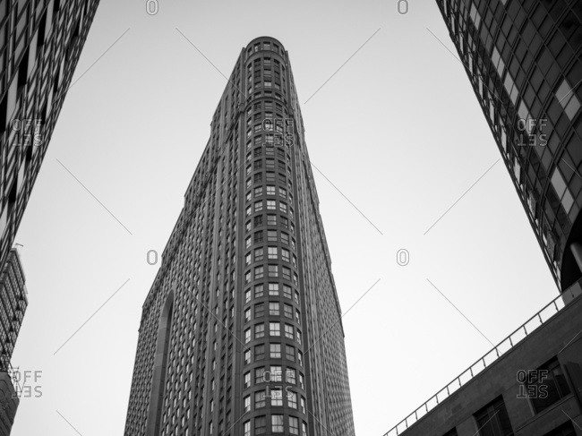 Low Angle View Of Condominium Buildings In Black And White; Toronto, Ontario, Canada