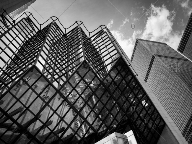 Low Angle View Of The Royal Bank Plaza In Black And White; Toronto, Ontario, Canada