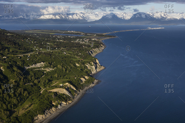 View Of The Shoreline Of Kachemak Bay With The Kenai Mountains In The Distance; Homer, Alaska, United States Of America