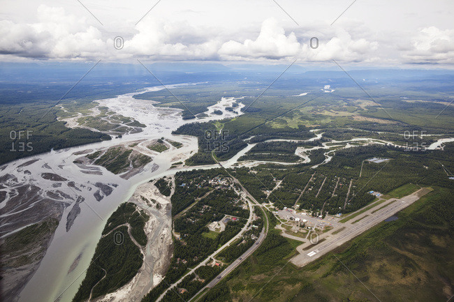 Aerial View Of The Talkeetna River And Landscape; Alaska, United States Of America