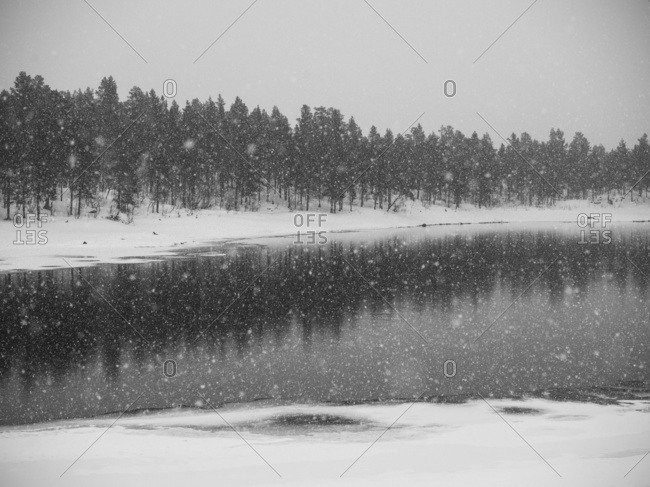Snow Falling Over A Lake In Winter; Arjeplog, Norrbotten County, Sweden