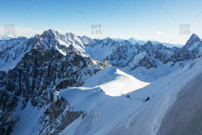 Route Down To The Vallee Blanche, Off-Piste Skiing; Chamonix, France